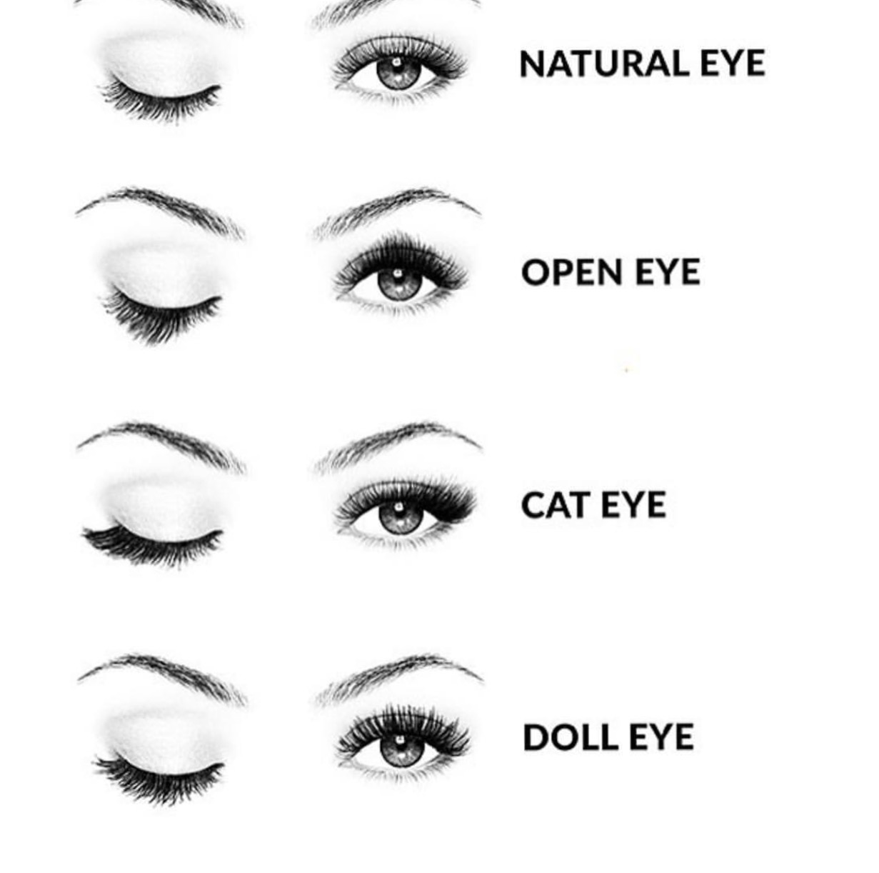Different eyelash extensions styles